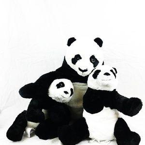 IKEA Panda Bears Plush Mama & Babies NWT GB1